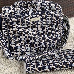 Ju-Ju-Be Be Prepared Diaper Bag (Dandy Lines) Navy Floral Structured Handbag EUC